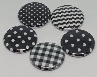 "1"" Flat back Buttons Black White Chevron Mixed Patterns Hollow back Pin back button"