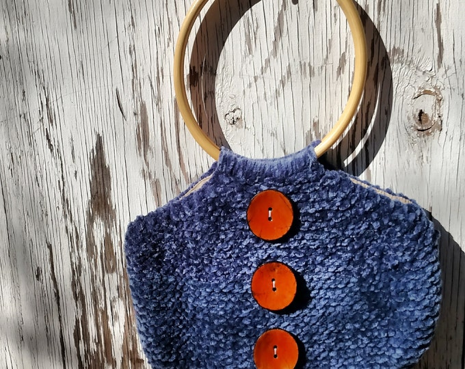 Denim Periwinkle Blue Chenille Handbag with Giant Orange Buttons and Round Wood Handles