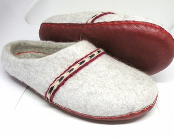 Handmade felted slippers Ready to ship with leather soles and handmade twisted strips EU size 37