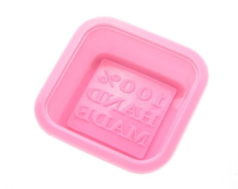 Silicone Soap Mold: 100% Handmade Mold, Square Soap Mold, Handmade Imprint, Imprinted Soap, Flexible Mold, Square Mold, Soap Mold,  MOL009