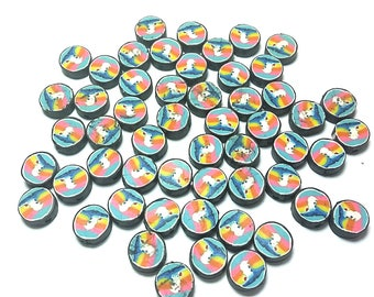 20 Fimo Polymer Clay Coin Round Mountain beads