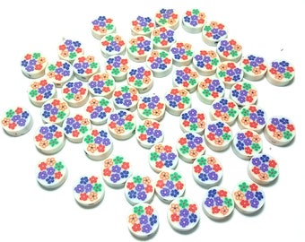 20 Fimo Polymer Clay Coin Round Beads Flower Assorted Colors