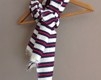 Mens Scarf-Navy and red striped scarf- Striped organic cotton wool scarf- Handmade Mens Gift -Scarves and wraps - Navy Red scarf- Wool scarf