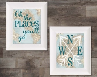 Oh The Places You'll Go Map Wall Art Paper Prints Set
