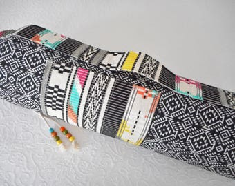 Yoga mat bag - Aztec textiles - with EMBROIDERED IKAT FABRIC for pocket & carry strap - stunning.