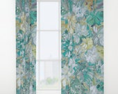 "Winter FLORAL Window Curtains 50"" x 84"" Bedroom drapes Romantic Chic Cyan Aqua Blue Olive Sage Green pastel colors, Modern artwork print"