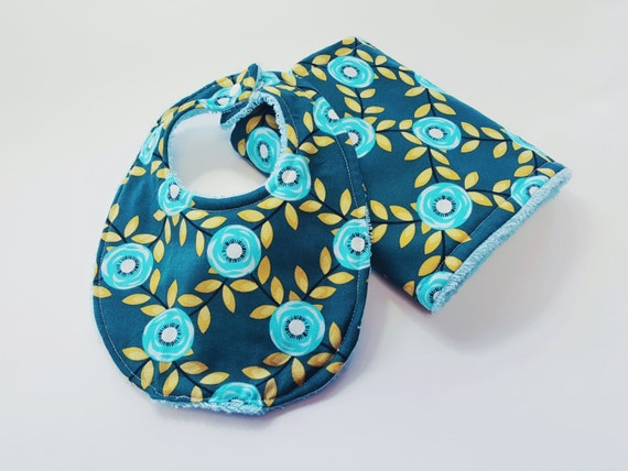 Bib and Burp Cloth Set - Organic Tribal Flower - Baby Girl