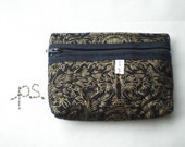 Quilted Black and Gold Small Pouch