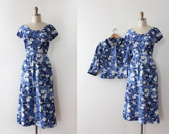vintage 1950s dress // 50s floral dress with jacket