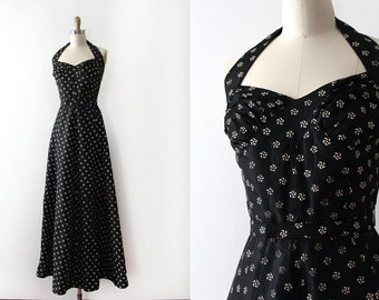 vintage 1930s gown // 30s black halter gown