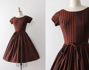 vintage 1950s Wendy Woods dress // 50s brown cotton day dress with belt