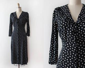 vintage 1930s rayon dress // 30s 40s polka dot dress