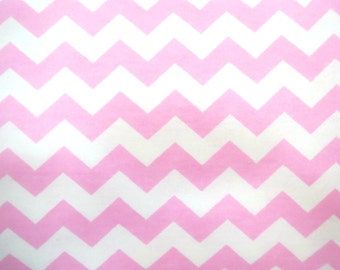 Destash Flannel Fabric by the Yard in a Pink on White Chevron Print 1 Yard