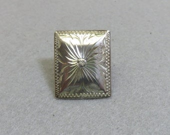 1970s Big Embossed Sterling Silver Ring, Size .75