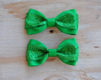 St Patricks day baby Hair Bow, Bow tie hair bow,  Pigtail Bows, St Patricks day bow set, Nonslip grip, Baby Hair Bows, Toddler Hair Bows