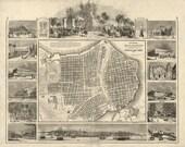 Vintage Map - Havana, Cuba 1849