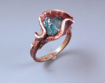 Apatite Ring- Electroformed Gemstone- Metal Art Ring- One of a Kind Sculpture- RedPaw- Copper Electroformed Ring