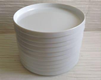 Oblique Plastic Snack Dishes.  Vintage, Modern, Panton era. Mid century.  10 piece, White Plastic.