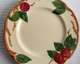 "3 Franciscan Apple luncheon Plates 9.5"".  California Pottery.  Hollywood Regency, Mid century, Eames era. 1950."