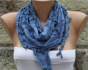 ON SALE --- Blue Scarf Cotton Scarf Easter Cowl Scarf Gift Ideas For Her Women Fashion Accessories Mother's Day Gift Holiday Fashion