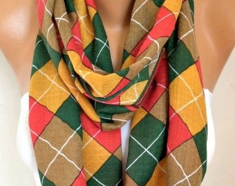 ON SALE --- Mustard Plaid Cotton Infinity Scarf,Tartan Scarf, Cowl Scarf, Circle, Loop Oversized Gift Ideas For Her, Women Fashion Accessori