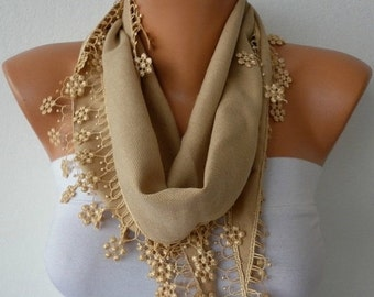 ON SALE --- Camel Floral Pashmina Scarf Summer,Necklace,Birthday Gift,Teacher Gift, Cowl Bridesmaid Gift Gift Ideas For Her  Women Fashion A