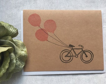 Hand Stamped Cards! Bicycle with balloons