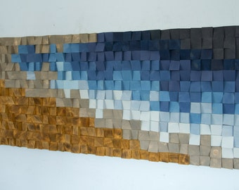 Wood Wall Art, monochromatic blues, new 2017 designs available in different colours