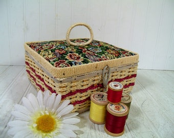 Wicker Sewing Basket & Vintage Colorful Floral Tapestry Fabric Supplies Box with Burgundy Trim Lovely Satin Lined Wooden Square Tote Toolbox