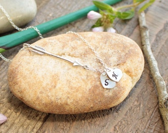 Sterling Silver Arrow and Initials Necklace