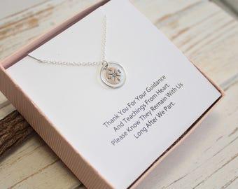 Sterling Silver Eternity Circle Compass Necklace... Teacher Appreciation Sentiment Card