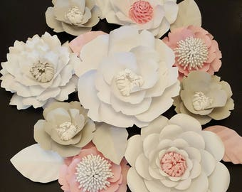 RTS Large Paper Rose Paper Flower Photo Prop Backdrop Set of 9 Flowers Wedding Nursery Decor Ready to Ship Baby Shower