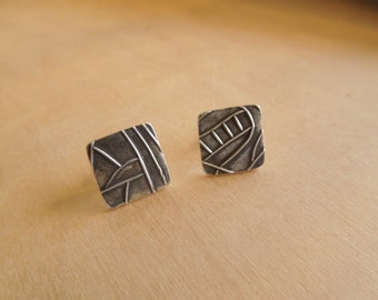 Square Post Earrings Sterling Silver Texture