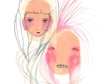 Original emotional girl art painting, pink artwork, angry