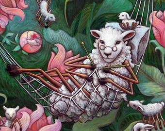 Knitting Spider Sheep - nursery fairytale storybook wall art