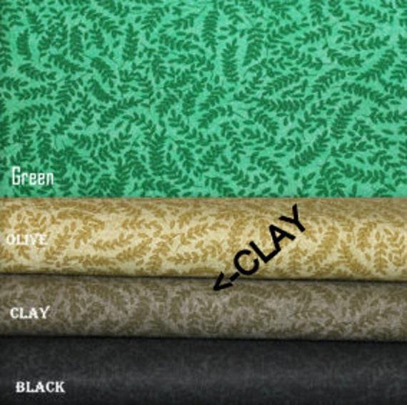 """Clay Tone on Tone Fabric,Fern Fabric,Reproduction fabric,100% Cotton Fabric,Quilt Fabric,Apparel Fabric,END OF BOLT 1 Yard 32"""" x 44"""""""