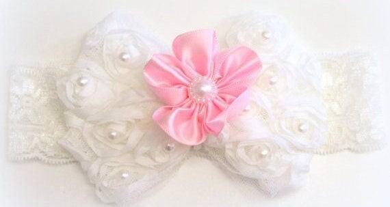 Pink and White Headband/Girl Headband/Baby Girl Headband/Newborn Headband/Baby Headband/Baby Girls Headband/Lace Headband/Bow Headband