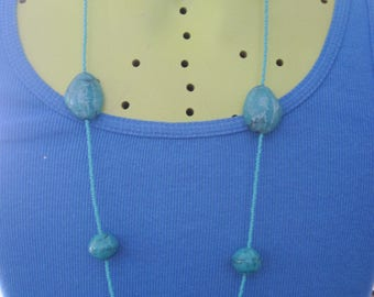 Vintage NY Beautiful Faux Turquoise & Seed Bead Long Necklace ..80's..... 6466....Hippe,Retro wear,Classic