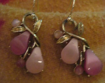 BEAUTIFULVintage Thermoset Moonglow Purples and Sterling Wire Earrings..RECLAIMED 2892