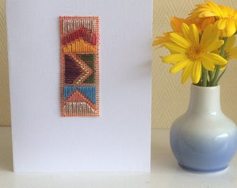 Textile Art Card - Abstract stitch