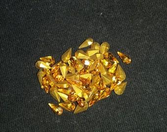 24 Swarovski topaz teardrop rhinestones