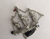 "CLEARANCE Gorgeous Ship Pin 2 1/2 x 2 1/2"" Crystals and Enamel Great Finishing Piece for Outfit Purse Tote Scarf or Hat"