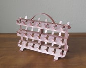 Vintage Anodized metal pink aluminum sewing thread bobbin spool holder stand organizer