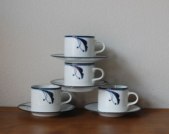 Dansk Flora Bayberry 4 Cup and saucer set Navy JAPAN