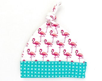 Flamingo Organic Cotton Baby Hat, White Pink Newborn Top Knot Hat, Tropical Beanie, Baby Shower Gift, Beach Gift for Mom, Beach Baby Girl