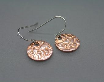 Copper Earrings, Circle Earrings, Textured Earrings, Mixed Metal Jewelry, Drop Earrings, Swirl Jewelry, Everyday Earrings, Simple Earrings