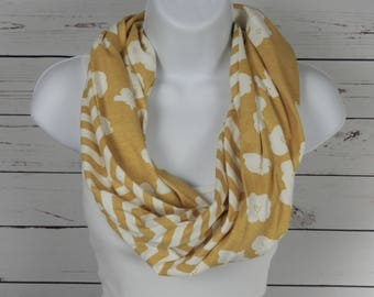 ORGANIC Cotton Knit Infinity Scarf / Sunny Golden Yellow Two Sided Scarf with Striped Chevron and Poppy Designs / Single Loop Infinity Scarf