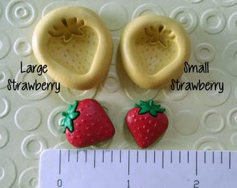 STRAWBERRY MOLD strawberries silicone mold food safe 4 fondant chocolate candy polymer clay wax soap candle embed shortcake bite size small