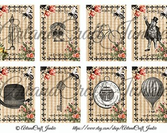 Note Cards Journal Cards Printable Steampunk Roses