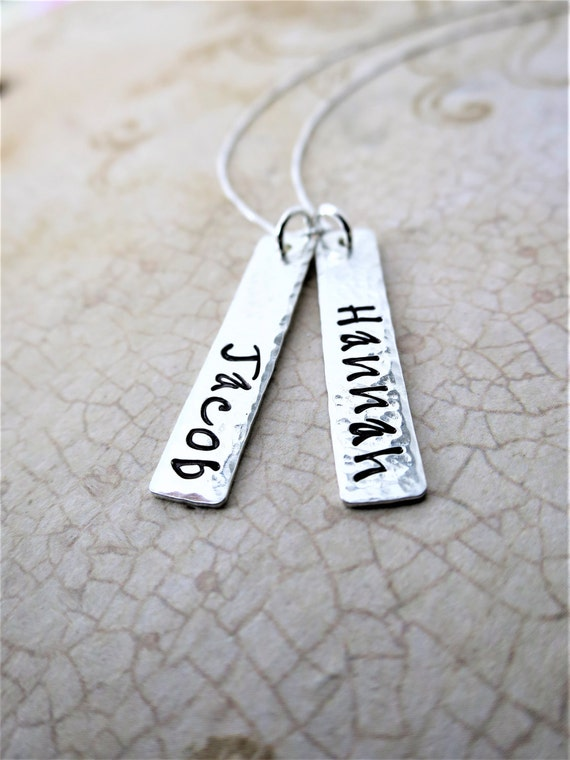 Custom Name Necklace - Sterling Silver Bar Necklace - Vertical Bar Necklace - Hand Stamped Names - Mommy Necklace - Handwriting Font